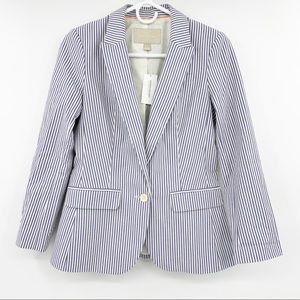NWT Banana Republic Cream Blue Stripe Blazer